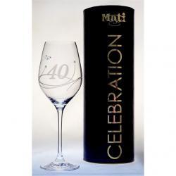 Üveg pohár swarovski dísszel bor 360ml Celebration 40yr