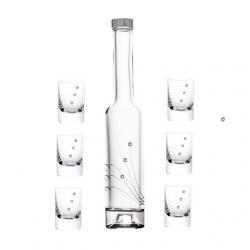 Röviditalos pohár + üveg swarovski díszítéssel üveg 30ml/200ml S/7