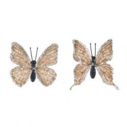 Pillangó csipesszel glitteres papír 5,5 cm barna S/8 @