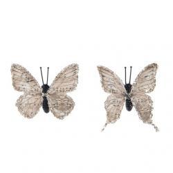 Pillangó csipesszel glitteres papír 5,5 cm világos barna S/8