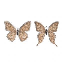 Pillangó csipesszel glitteres papír 11 cm sötét barna S/6