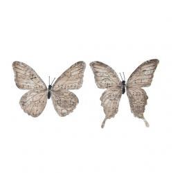 Pillangó csipesszel glitteres papír 11 cm világos barna S/6