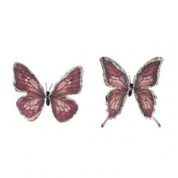 Pillangó csipesszel papír 11 cm mályva S/6 @