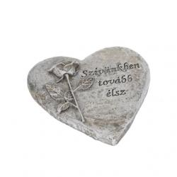 Kegyeleti szív poly 12,5x12x1,5cm szürke