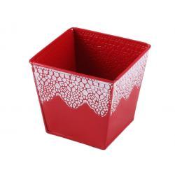 Bád kaspó 4szög piroscsipke