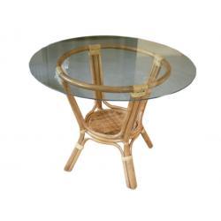Rattan asztal üveglappal 100 cm