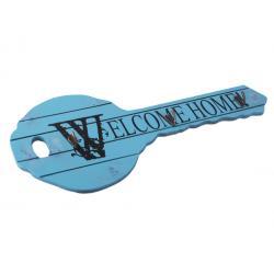 Kulcs formájú fa kulcstartó kék