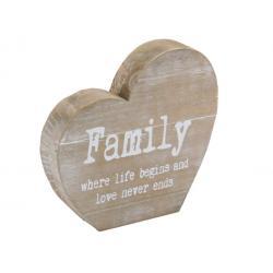 Fa dekor szív Family...