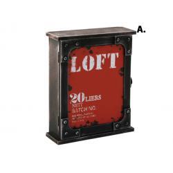Fém hatású fa kulcstartó szekrény - Loft