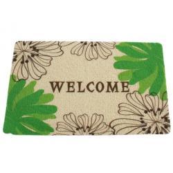 Beltéri lábtörlő Mix design M Welcome zöld virágos