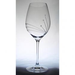 Üveg pohár swarovski dísszel bor 470ml átlátszó S/6