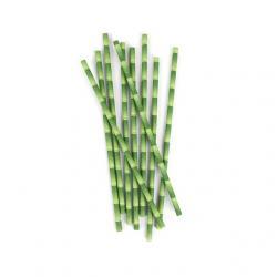 Papírszívószál bambusz mintával 144db