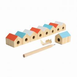 Ceruzahegyező,Édes Otthon, fa-fém 3x3x2cm, háromféle színben