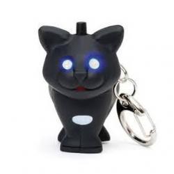 Kulcstartó hanggal, ledes, macska