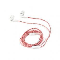 Fülhallgató, piros-fehér, textil borítású