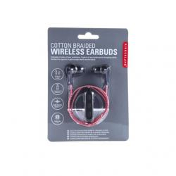 Vezeték nélküli fülhallgató, textil borítással, piros