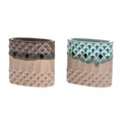 Mécsetartó henger formájú kerámia 10.5cm türkíz,bronz 2 féle