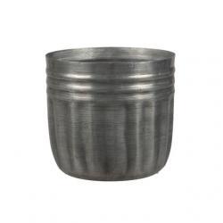 Kaspó kerek bordázott fém 10x9,5 cm szürke
