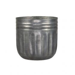 Kaspó kerek bordázott fém 12,5x11,5 cm szürke
