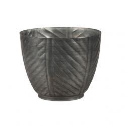 Kaspó kerek csíkos fém 13x11,5 cm szürke