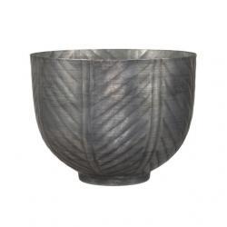 Kaspó kerek csíkos fém 16x12,5 cm szürke
