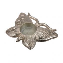 Pillangó mécsestartó alumínium 13x9cm ezüst