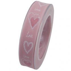 Szalag szívvel textil 25mmx20m rózsaszín