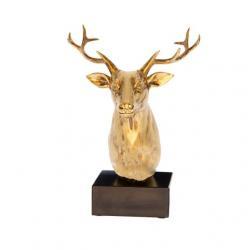 Szarvas fej dekor poly 21x17cm arany/fekete @