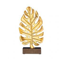 Levél formájú dekor poly 14,7X8X26 cm arany/fekete @