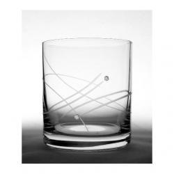 Üveg pohár swarovski dísszel whisky 280ml átlátszó S/6