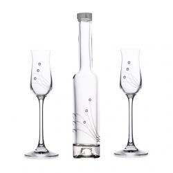 Pálinkás pohár+üveg swarovski dísszel üveg 70ml/200 ml S/3