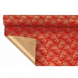 Csomagoló papír virág mintás 1x25m arany,piros