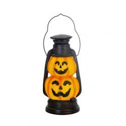 Tök lámpás dupla fogantyúval LEDes elemes poly 15x14x29,2 cm narancs,fekete